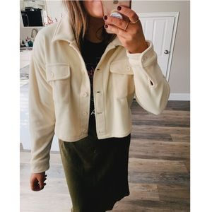 NWT Cropped fleece cream button up jacket